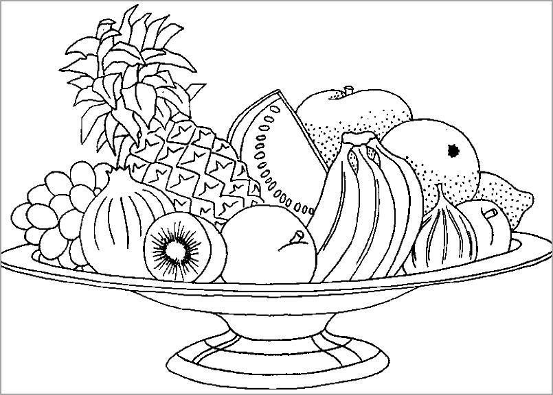 Tranh tô màu hoa quả ngày tết