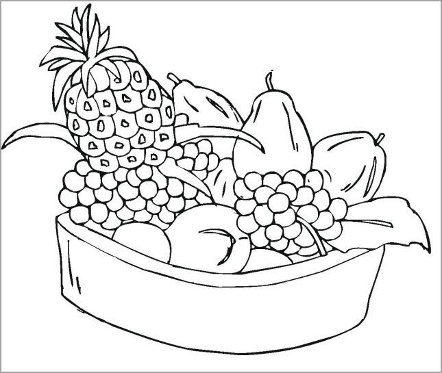 Tranh tô màu hoa quả, trái cây
