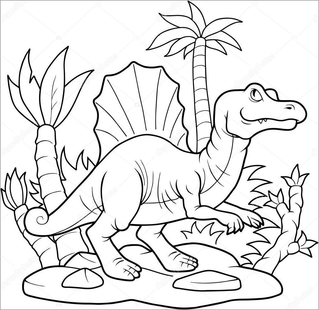 Tranh tô màu khủng long bạo chúa trong rừng
