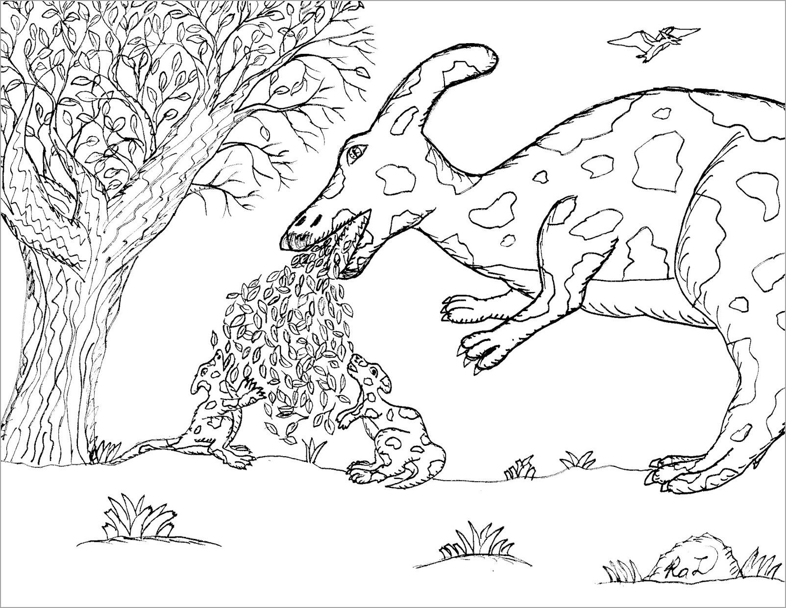Tranh tô màu khủng long cho bé 4 tuổi