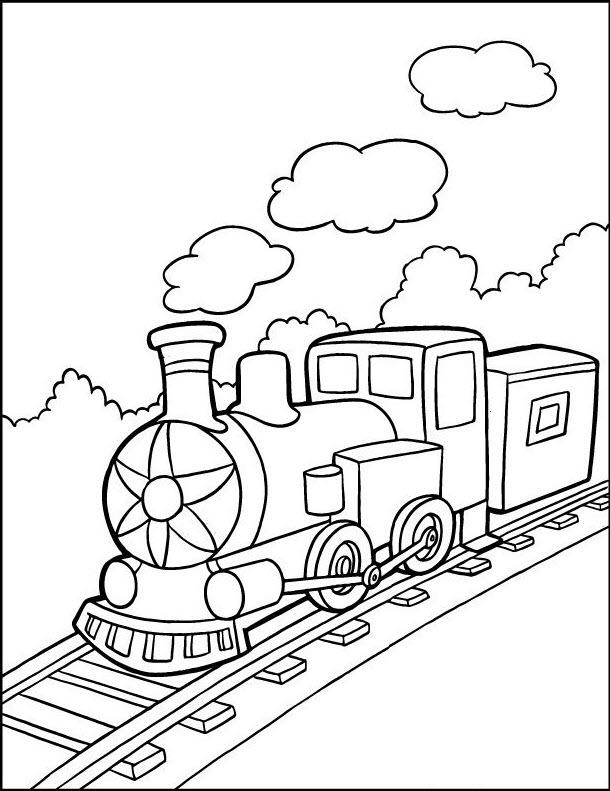Tranh tô màu tàu hỏa chạy trên đường ray