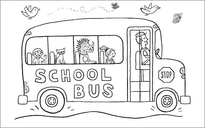 Tranh tô màu xe bus trường học