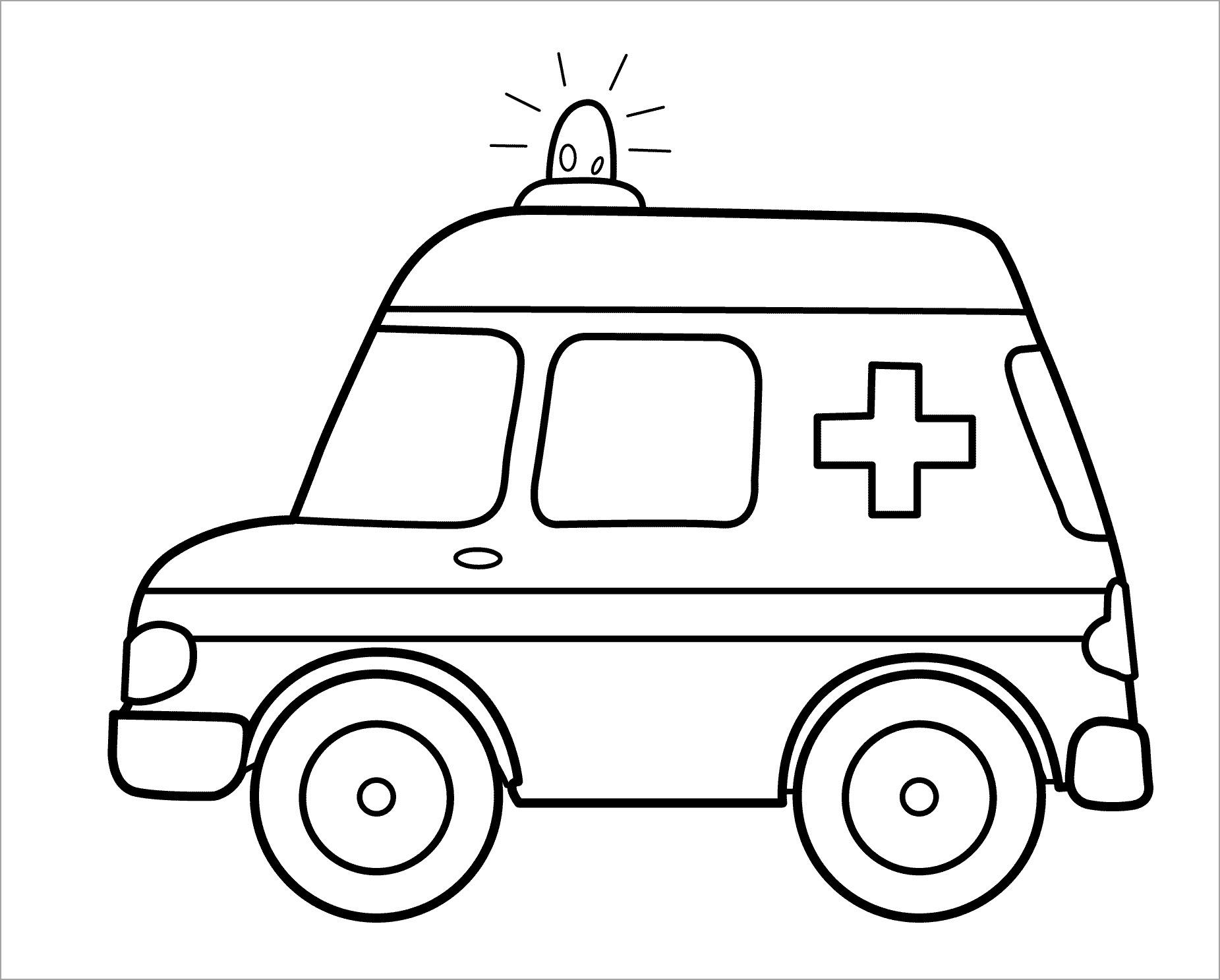 Tranh tô màu xe cứu thương