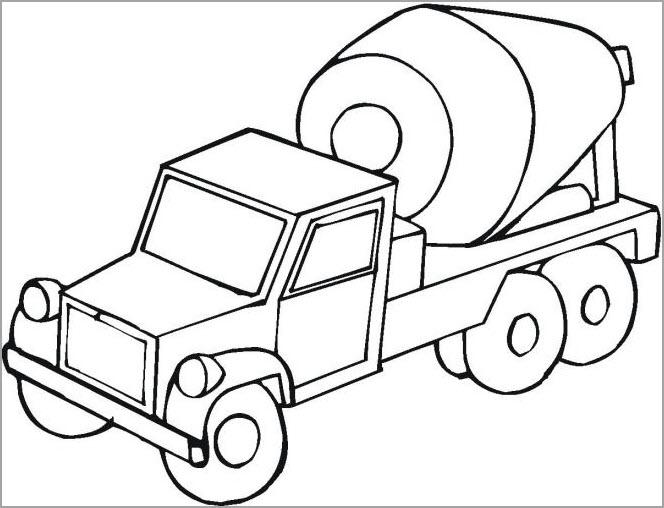 Tranh tô màu xe trộn bê tông
