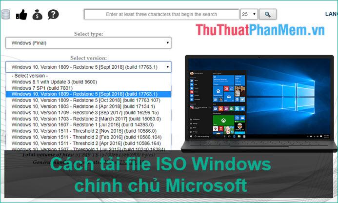 Cách tải file ISO Windows 7, Windows 8, Windows 10 từ trang chủ Microsoft