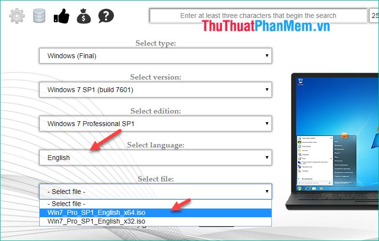 Chọn ngôn ngữ, sau đó chọn bản windows 32 bit hay 64 bit