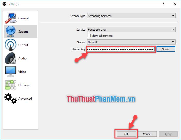 Dán dòng Stream key vào phần Settings của OBS và click chọn OK