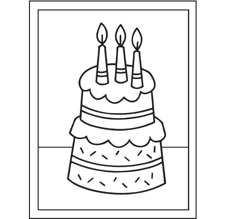Hình bánh sinh nhật cho bé tập tô màu