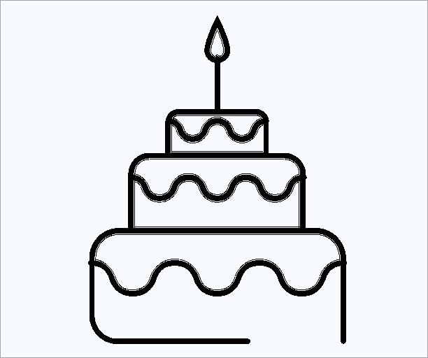 Hình bánh sinh nhật đơn giản cho bé tô màu