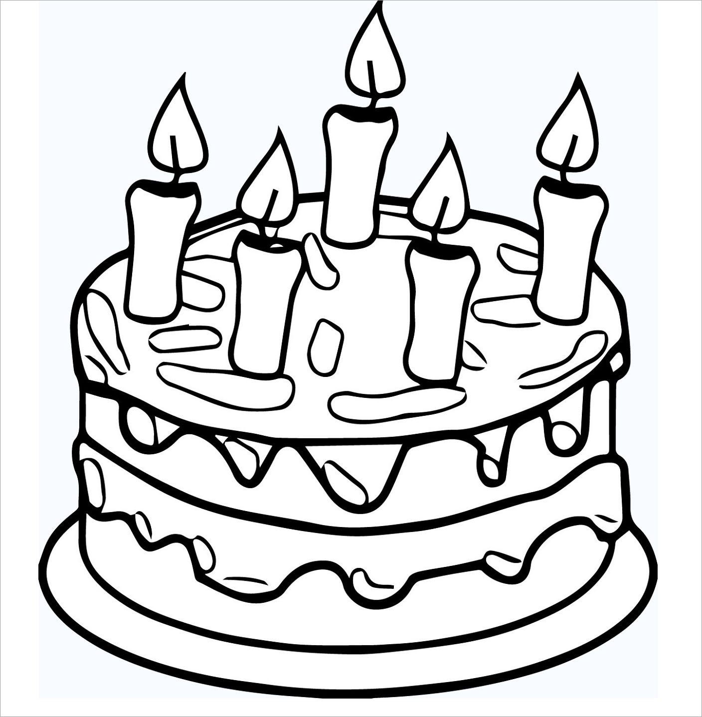Hình bánh sinh nhật tô màu