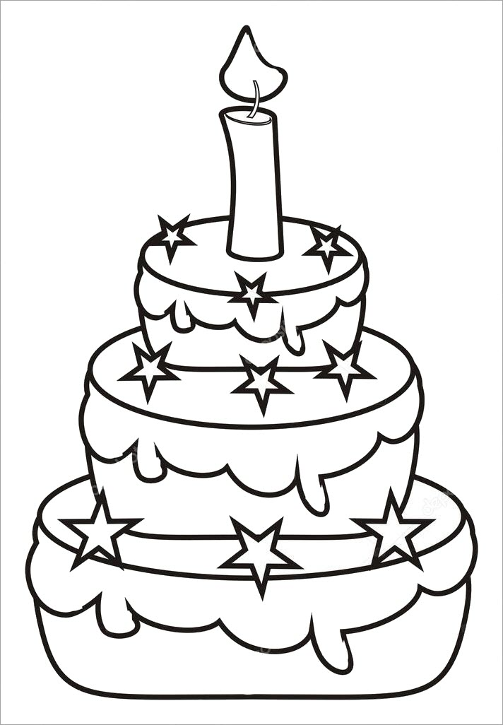 Hình tập tô bánh sinh nhật đẹp cho bé