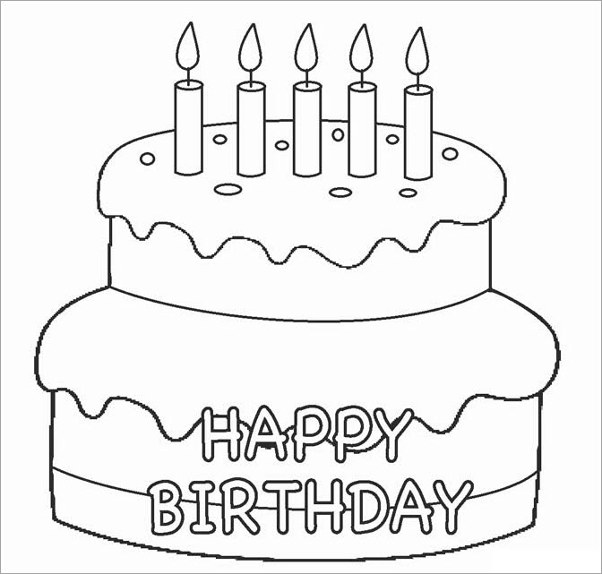 Hình tập tô cho bé chủ đề bánh sinh nhật