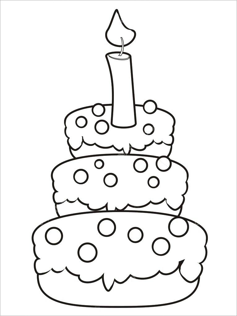 Hình tập tô màu bánh kem sinh nhật cho bé