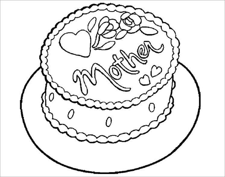 Hình tập tô màu bánh kem sinh nhật