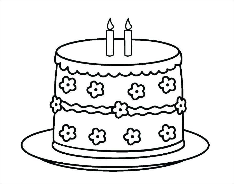Hình tập tô màu bánh sinh nhật đẹp cho bé