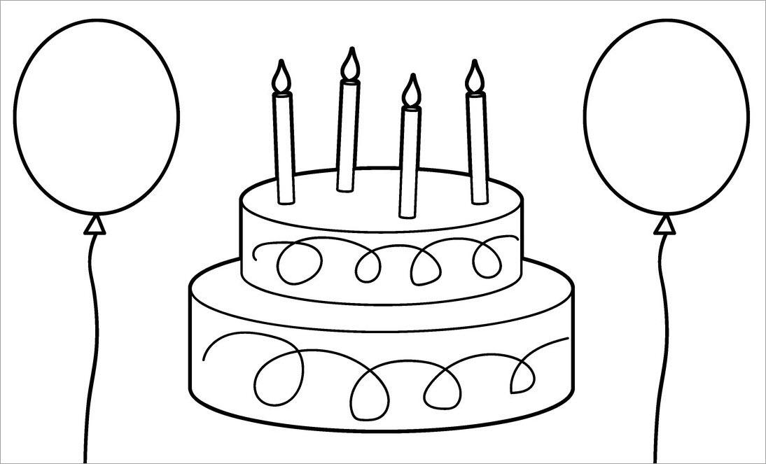 Hình tập tô màu bánh sinh nhật đẹp
