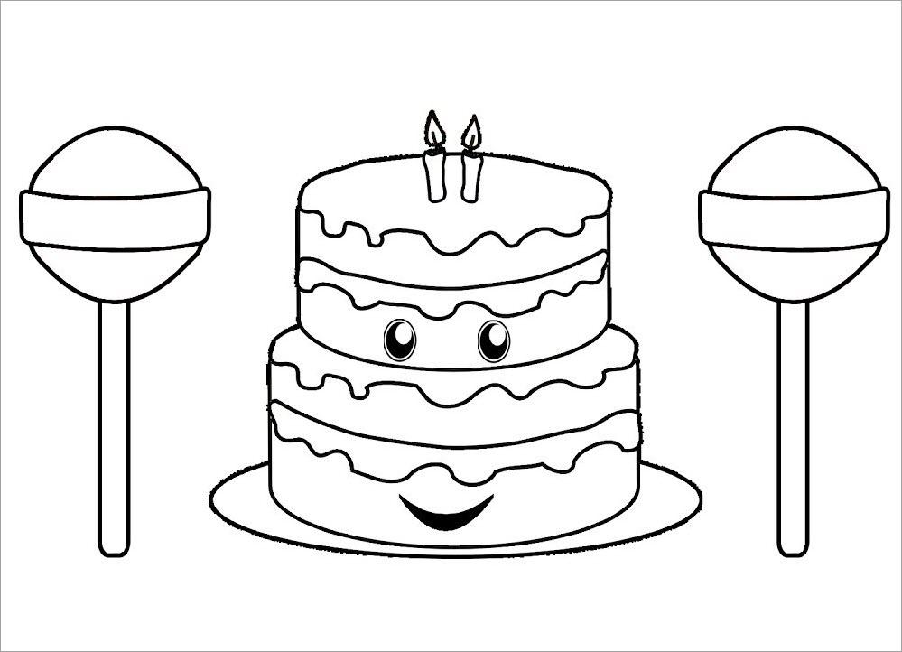 Hình tập tô màu bánh sinh nhật
