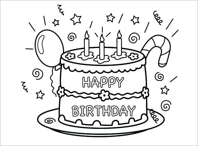 Hình tập tô màu chủ đề bánh sinh nhật
