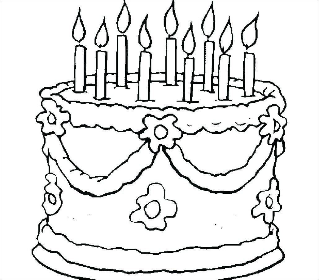 Hình tô màu bánh kem sinh nhật cho bé