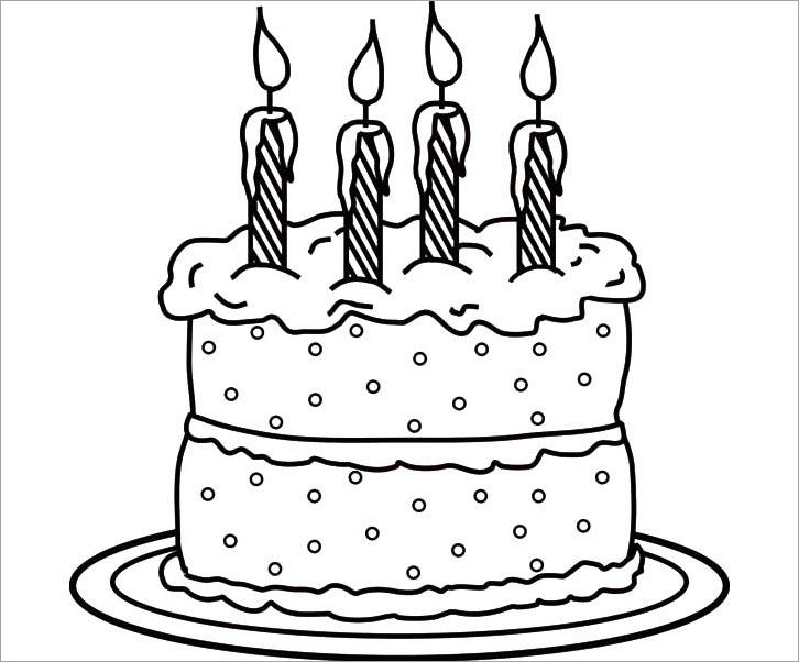 Hình tô màu bánh kem sinh nhật đẹp