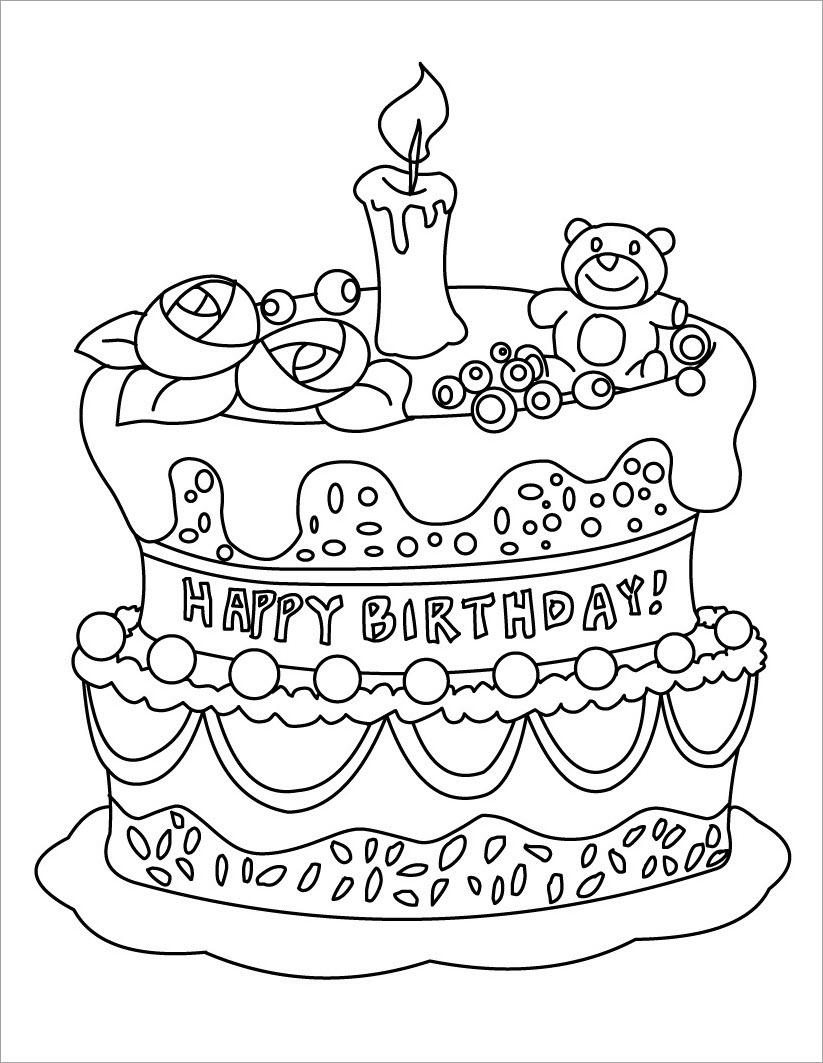 Hình tô màu bánh kem sinh nhật