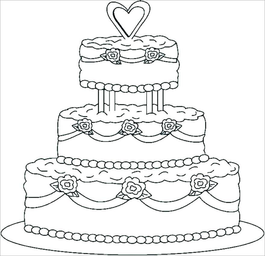 Hình tô màu bánh sinh nhật 3 tầng