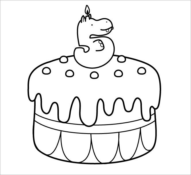 Hình tô màu bánh sinh nhật đơn giản