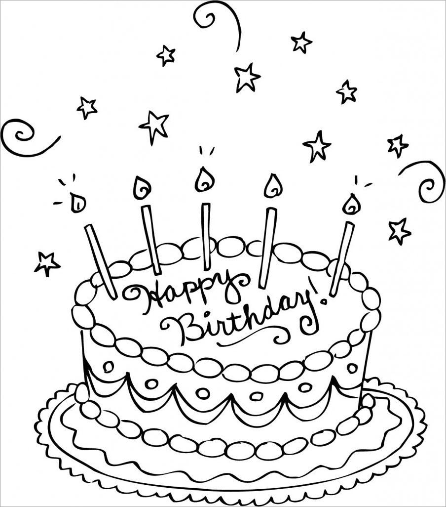 Hình tô màu chủ đề bánh kem sinh nhật