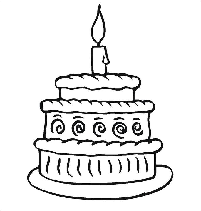 Hình tô màu chủ đề bánh sinh nhật