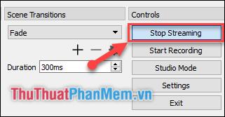 Khi muốn kết thúc việc phát trực tiếp, nhấn Stop Streaming