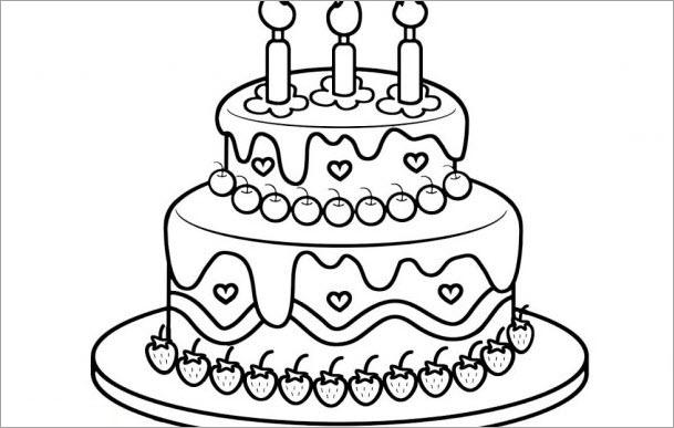 Tập tô màu bánh sinh nhật cho bé