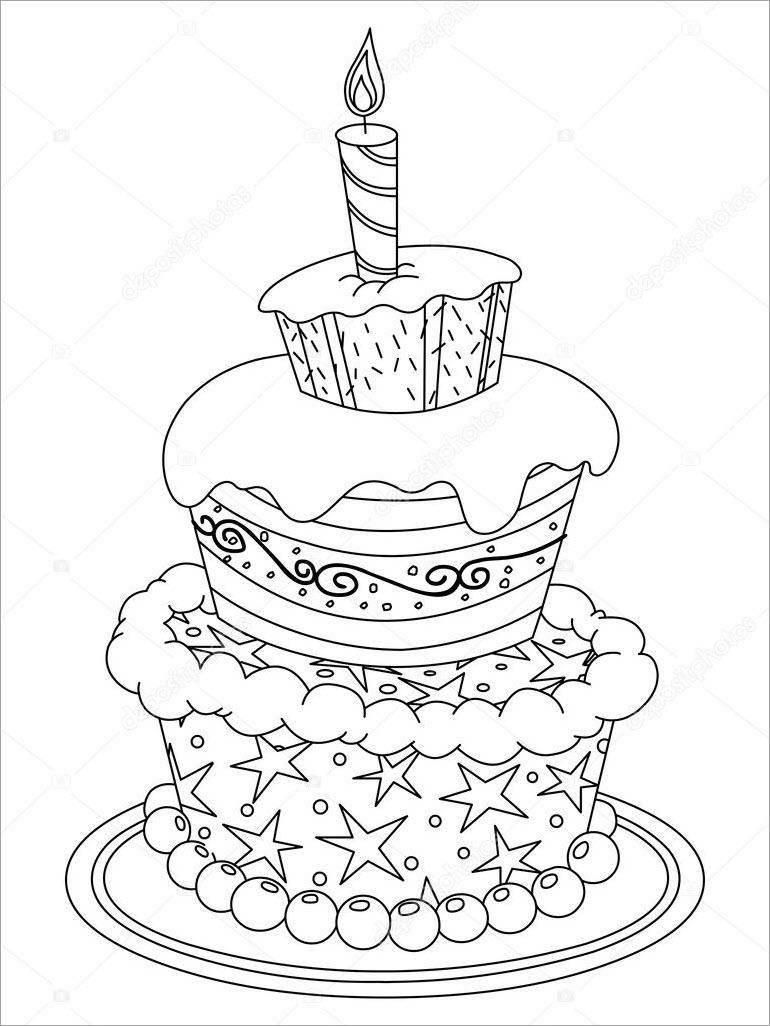 Tranh tập tô bánh sinh nhật đẹp