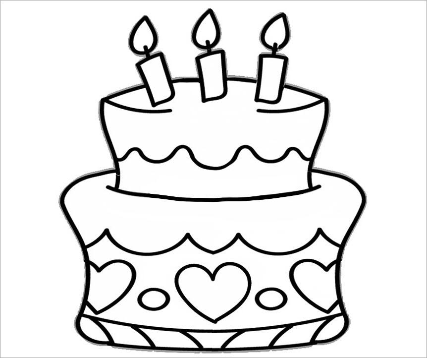 Tranh tập tô cho bé chủ đề bánh sinh nhật
