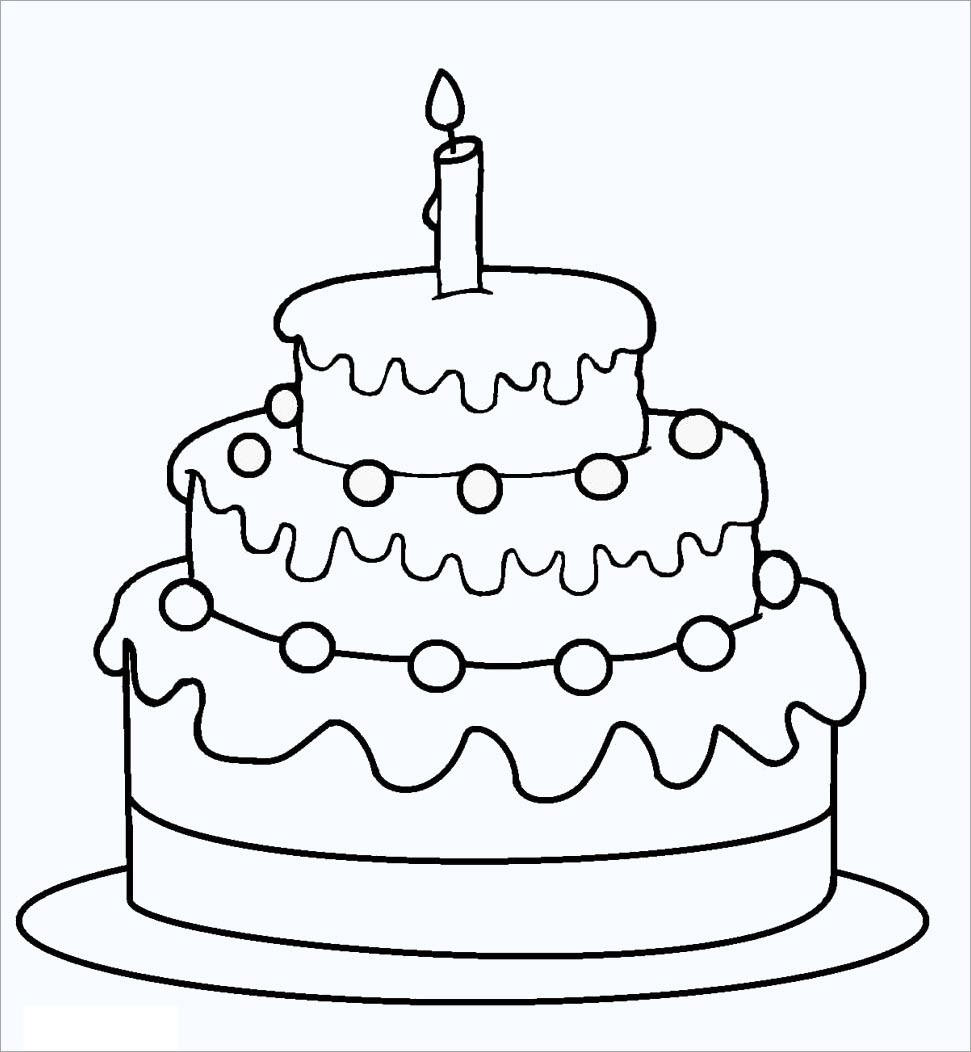 Tranh tập tô hình bánh kem sinh nhật