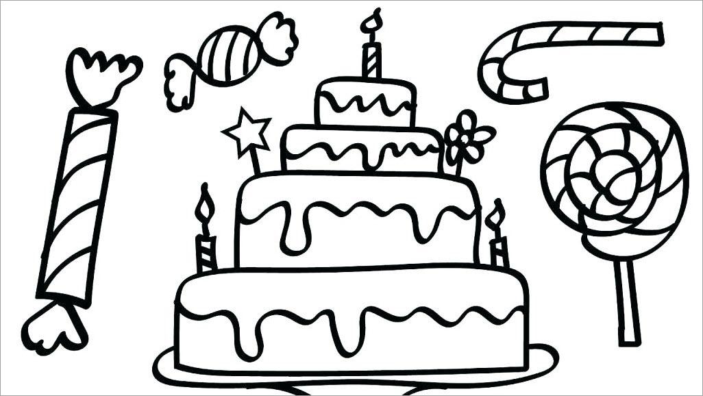Tranh tập tô màu bánh kem sinh nhật