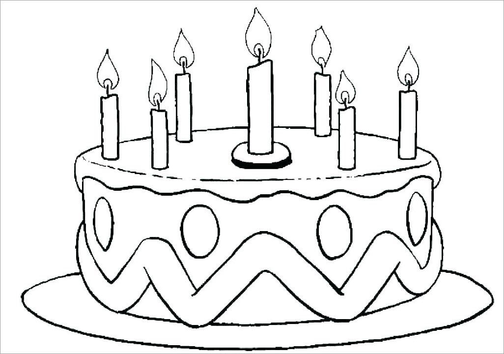 Tranh tập tô màu bánh sinh nhật 1 tầng