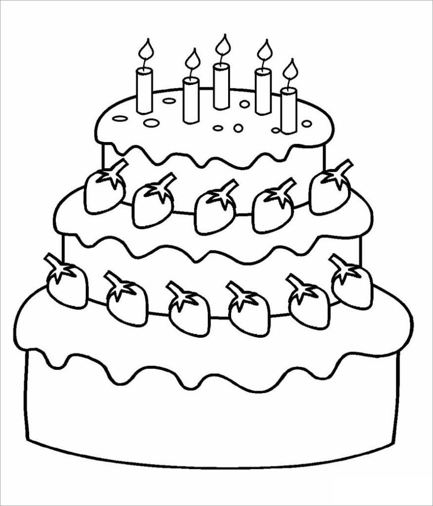 Tranh tập tô màu bánh sinh nhật 3 tầng