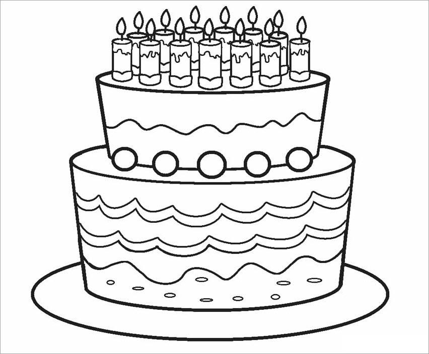 Tranh tập tô màu bánh sinh nhật cho bé