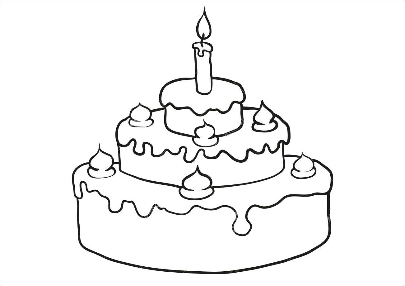 Tranh tập tô màu bánh sinh nhật đẹp cho bé