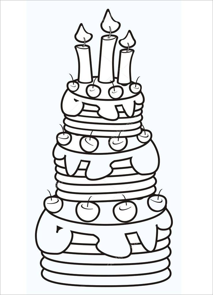 Tranh tập tô màu chủ đề bánh sinh nhật