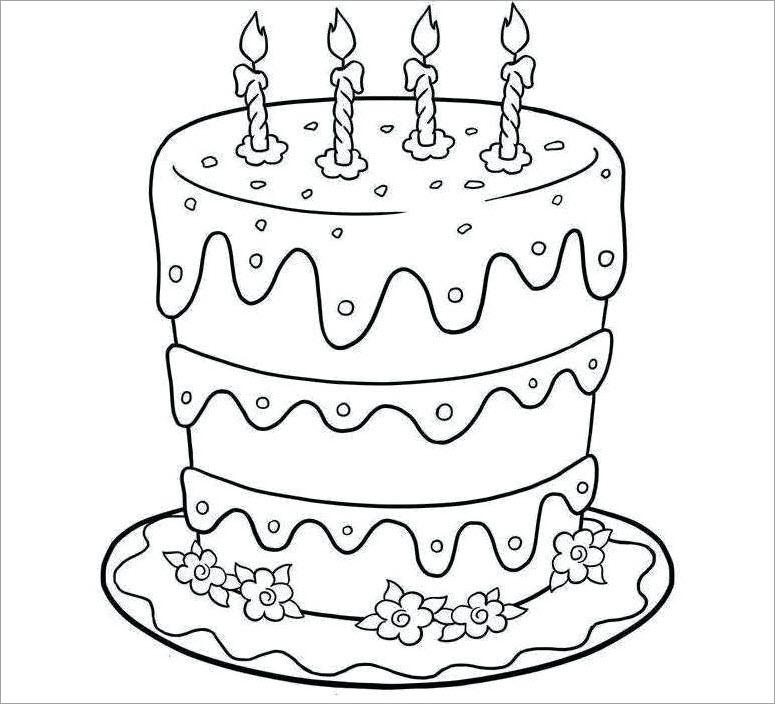 Tranh tập tô màu hình bánh sinh nhật