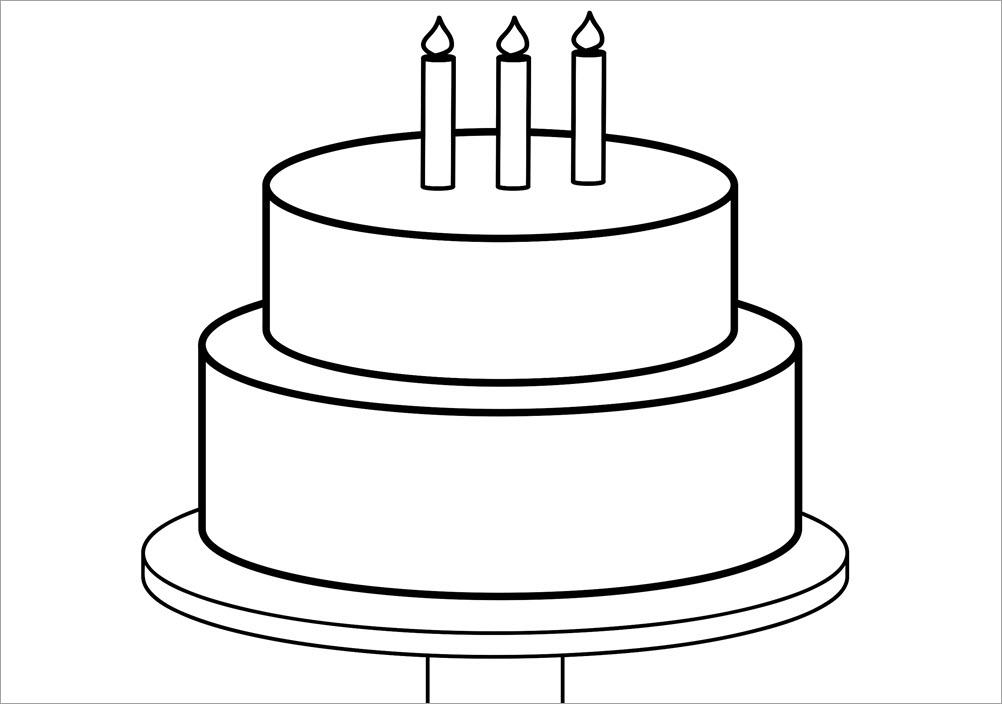 Tranh tô màu bánh sinh nhật đơn giản