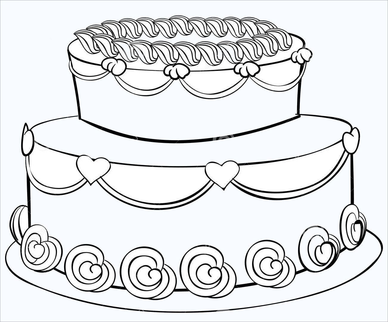 Tranh tô màu hình bánh kem sinh nhật