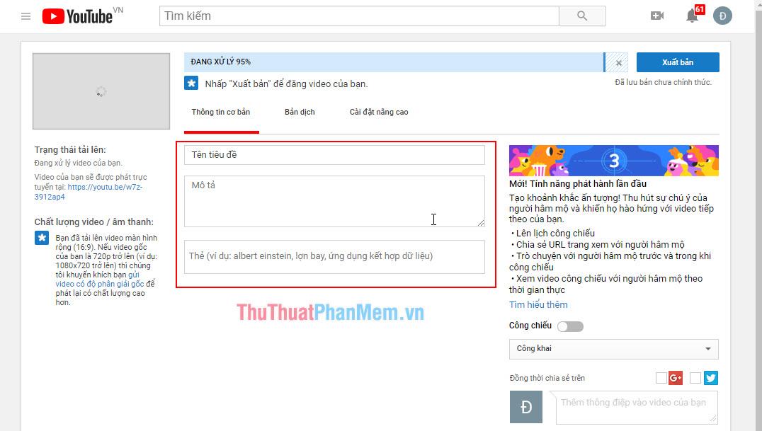 Tùy chỉnh các thông tin cơ bản của video trong phần Basic Info