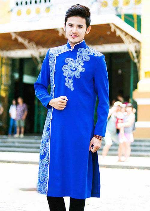 Áo dài cách tân nam trẻ trung màu xanh