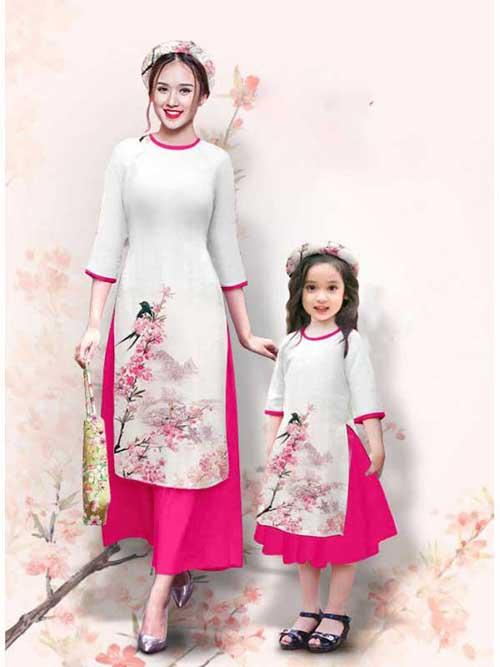 Áo dài cách tân vải gấm màu trắng đẹp
