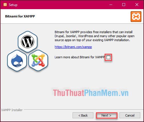 """Bỏ tích ở phần """"Learn more about Bitnami for XAMPP"""" và nhấn Next"""