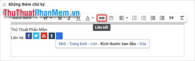 Bôi đen biểu tượng ảnh cần chèn địa chỉ email rồi click vào biểu tượng Liên kết