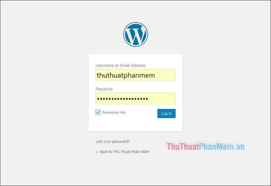 Đăng nhập WordPress với Username và mật khẩu vừa tạo bên trên