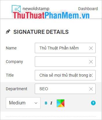 Điền các thông tin muốn chèn vào chữ ký trong mục SIGNATURE DETAILS